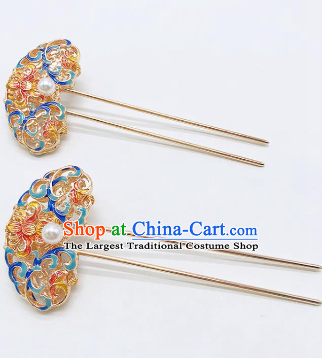 Chinese Classical Blueing Hair Clip Women Hanfu Hair Accessories Handmade Ancient Qing Dynasty Imperial Concubine Hairpins