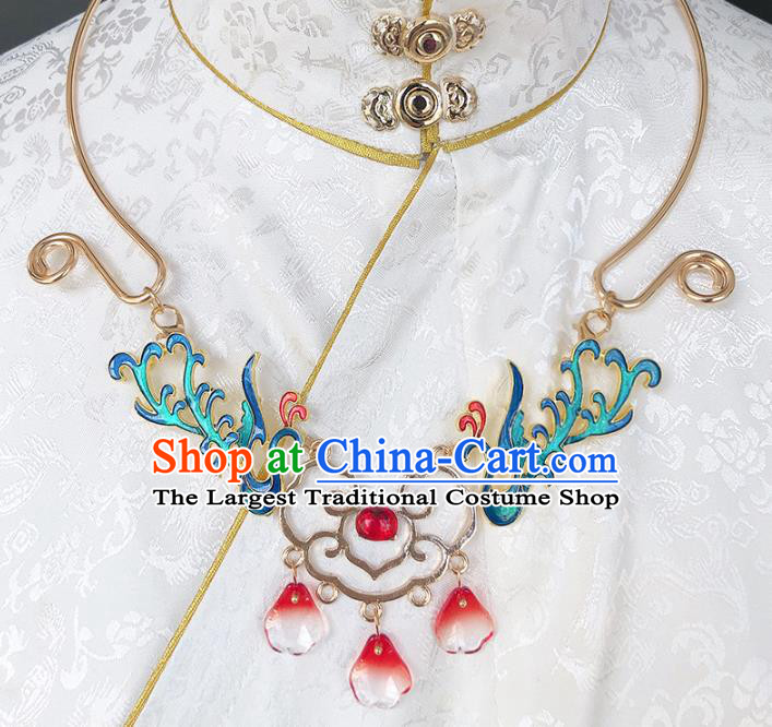 Chinese Handmade Ming Dynasty Cloisonne Phoenix Necklet Classical Jewelry Accessories Ancient Hanfu Necklace for Women