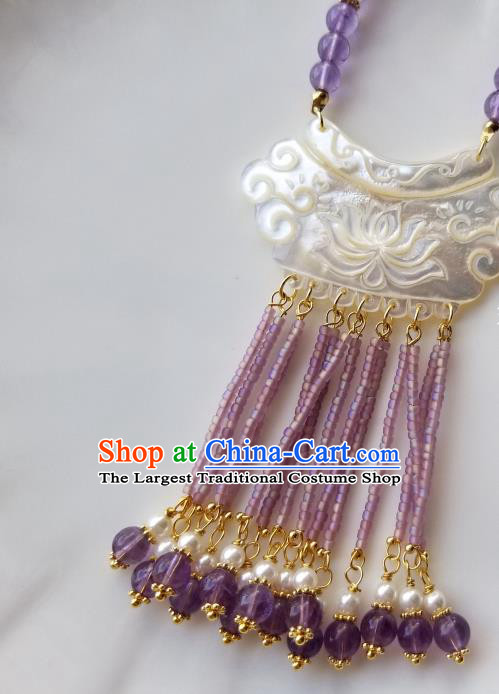 Chinese Handmade Shell Carving Lotus Necklet Classical Jewelry Accessories Ancient Hanfu Purple Beads Tassel Necklace for Women