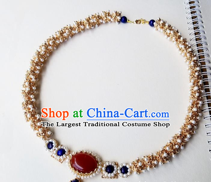 Chinese Handmade Pearls Necklet Classical Jewelry Accessories Ancient Empress Hanfu Golden Necklace for Women
