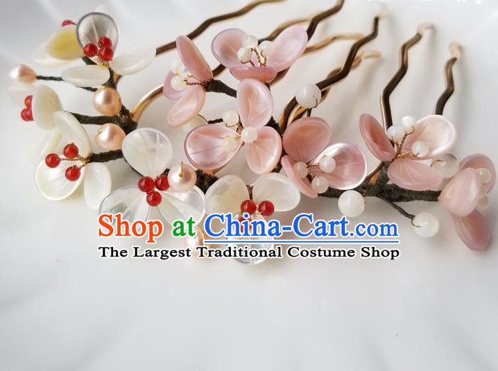Chinese Classical Pearls Hair Comb Hanfu Hair Accessories Handmade Ancient Queen Shell Flowers Hairpins for Women