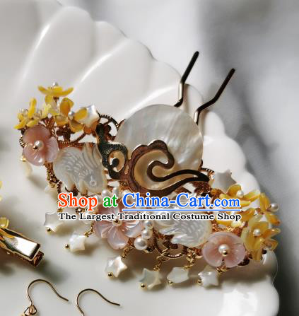 Chinese Classical Shell Rabbit Hair Claw Hanfu Hair Accessories Handmade Ancient Queen Pearls Hairpins for Women