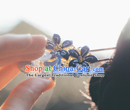 Chinese Classical Cloisonne Flowers Hair Clip Hanfu Hair Accessories Handmade Ancient Princess Pearls Hairpin for Women