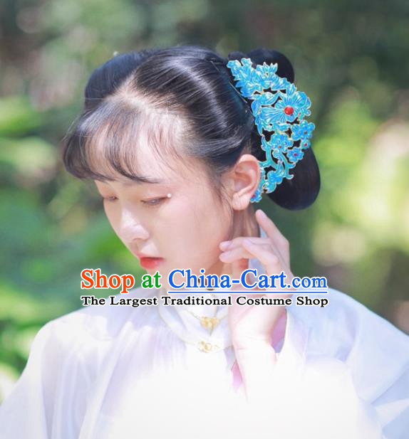 Chinese Classical Ancient Countess Blueing Hairpins Women Hanfu Hair Accessories Handmade Ming Dynasty Court Hair Comb