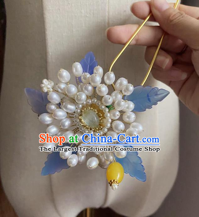 Chinese Classical Ming Dynasty Hair Clip Women Hanfu Hair Accessories Handmade Ancient Princess Pearls Flower Hairpin