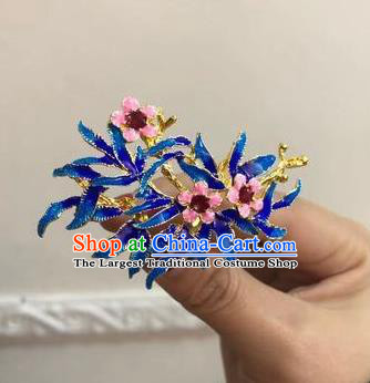 Chinese Classical Ancient Ming Dynasty Flowers Hairpins Women Hanfu Hair Accessories Handmade Court Blueing Hair Clip