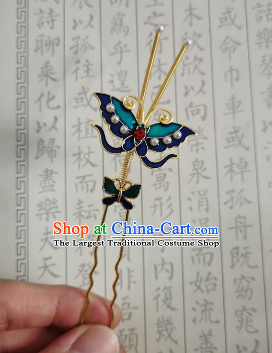 Chinese Women Classical Ming Dynasty Blueing Butterfly Hairpin Handmade Ancient Princess Hanfu Hair Accessories Hair Clip