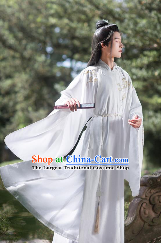 Chinese Ancient Noble Scholar Hanfu Apparels Traditional Costumes Ming Dynasty Prince Garment Embroidered White Robe