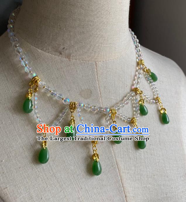 Chinese Handmade Green Water Drop Necklet Classical Jewelry Accessories Ancient Hanfu Beads Necklace for Women