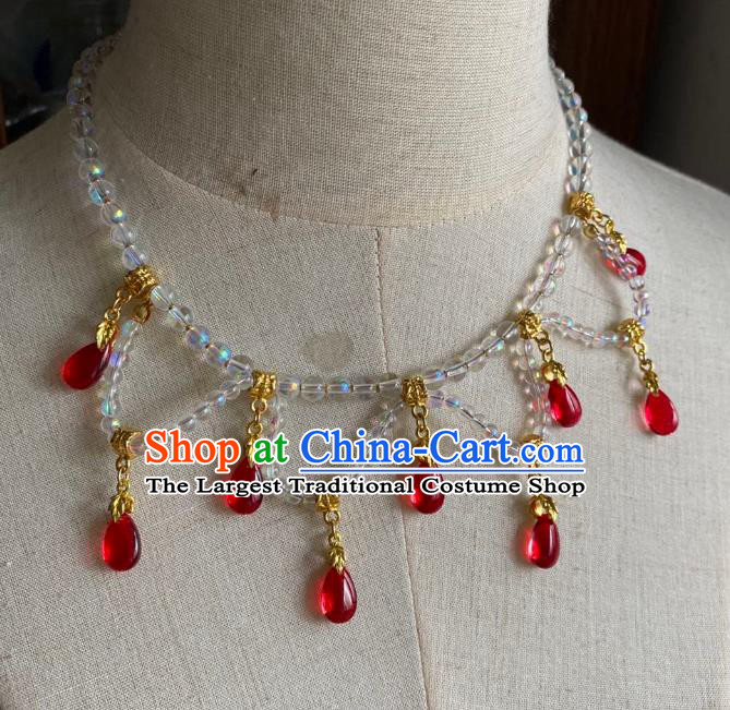 Chinese Handmade Red Water Drop Necklet Classical Jewelry Accessories Ancient Hanfu Beads Necklace for Women