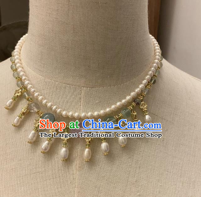 Chinese Handmade Pearls Necklet Classical Jewelry Accessories Ancient Hanfu Beads Necklace for Women