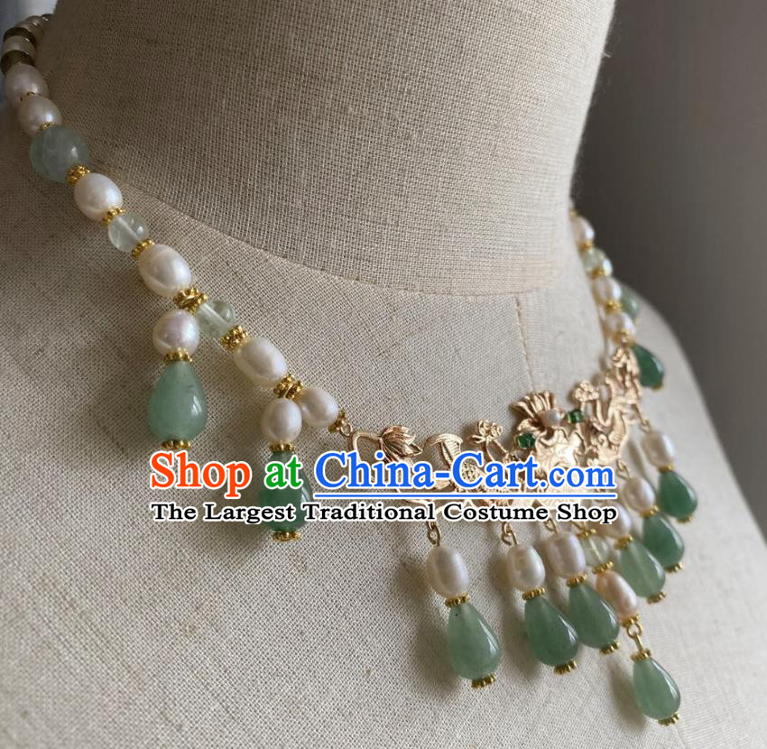 Chinese Handmade Green Beads Tassel Necklet Classical Jewelry Accessories Ancient Hanfu Golden Phoenix Necklace for Women