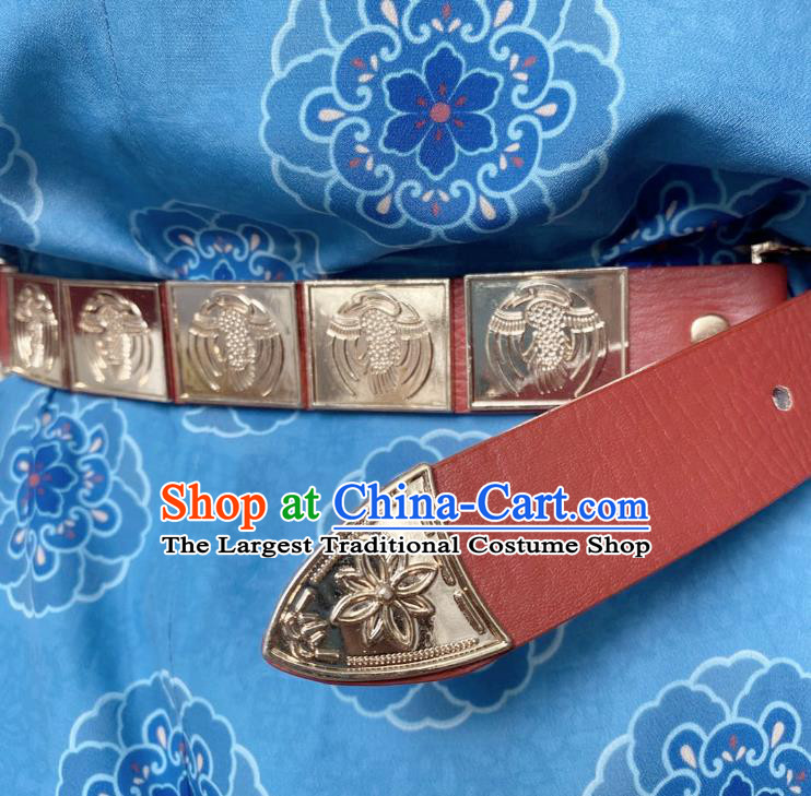 Chinese Classical Ancient Hanfu Red Leather Belt Tang Dynasty Swordsman Waistband Accessories