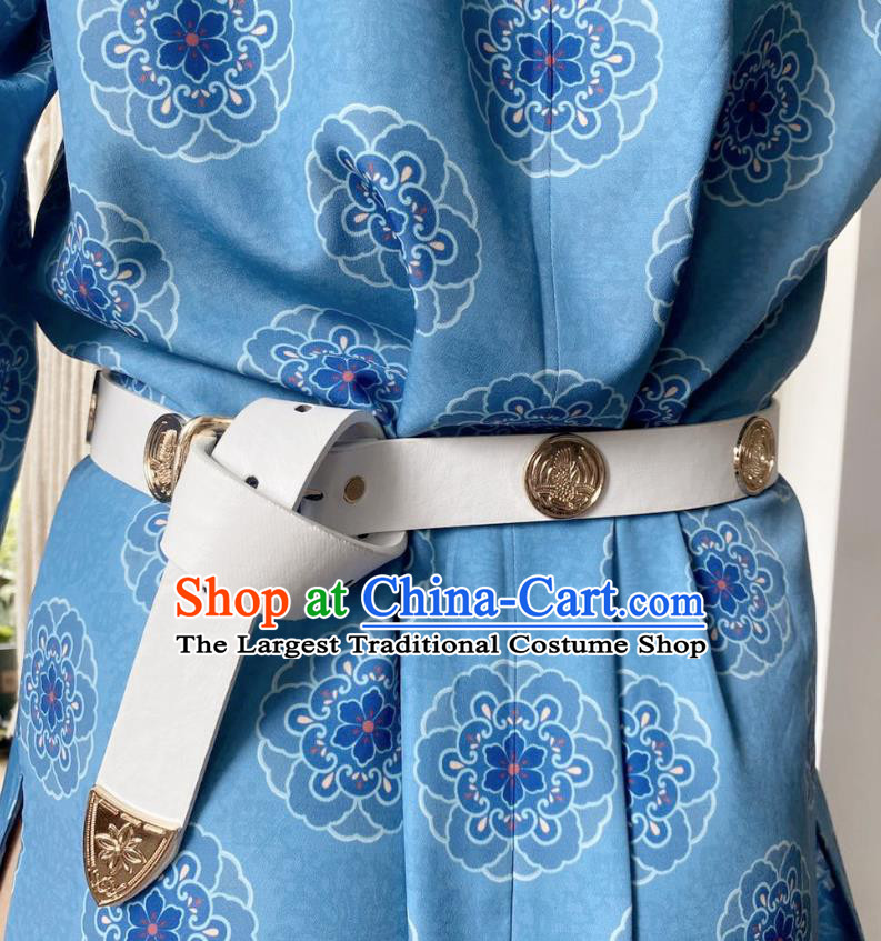Chinese Classical Ancient Hanfu White Leather Belt Tang Dynasty Swordsman Waistband Accessories