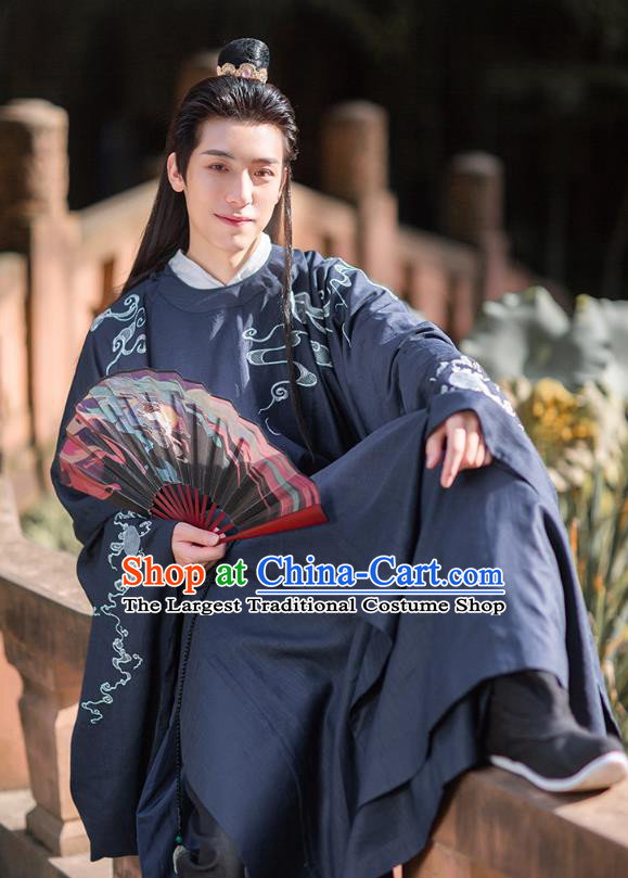 Chinese Ancient Scholar Hanfu Apparels Traditional Costumes Ming Dynasty Noble Prince Garment Embroidered Navy Blue Robe