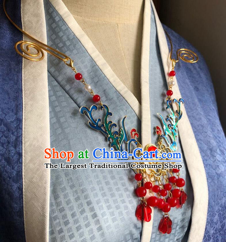 Chinese Handmade Red Beads Tassel Necklet Classical Jewelry Accessories Ancient Hanfu Blueing Phoenix Necklace for Women