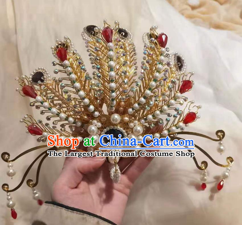 Chinese Ancient Imperial Empress Pearls Golden Hairpins Hair Accessories Handmade Ming Dynasty Court Phoenix Hair Crown