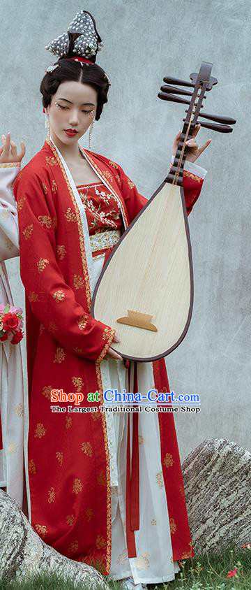 Chinese Ancient Dance Women Hanfu Apparels Traditional Costumes Song Dynasty Palace Lady Red BeiZi Top Blouse and Skirt
