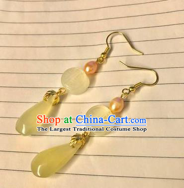 Handmade Chinese Classical Topaz Eardrop Ear Accessories Ancient Ming Dynasty Princess Hanfu Pearl Earrings