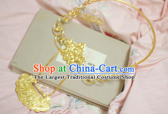 Chinese Handmade Golden Longevity Lock Necklet Classical Jewelry Accessories Ancient Princess Hanfu Necklace for Women