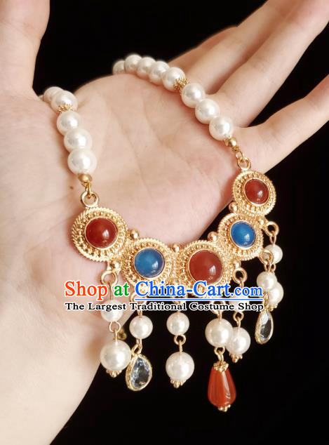 Chinese Handmade Agate Necklet Classical Jewelry Accessories Ancient Princess Hanfu Gems Necklace for Women