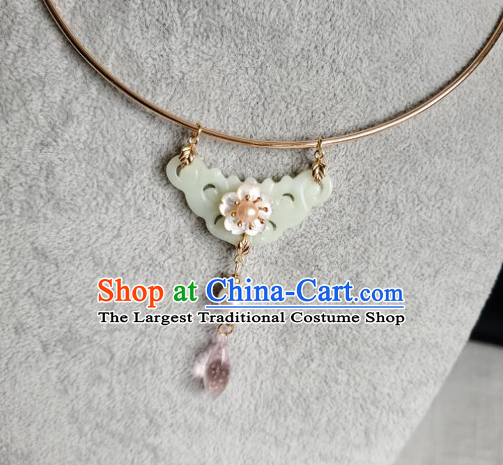 Chinese Handmade Ming Dynasty Pink Drop Necklet Classical Jewelry Accessories Ancient Princess Hanfu Jade Necklace