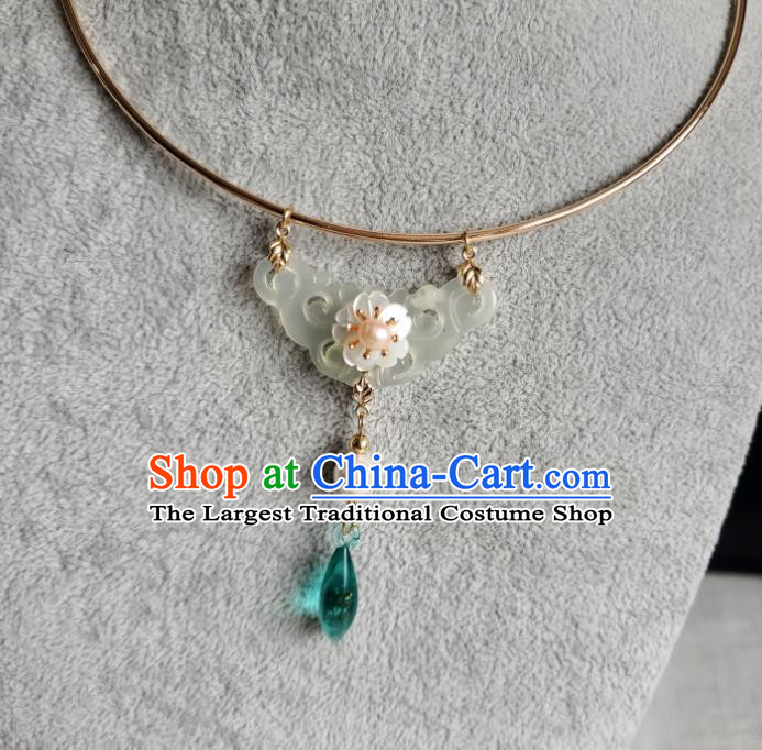 Handmade Chinese Classical Ming Dynasty Green Crystal Necklet Ancient Princess Hanfu Jewelry Accessories Women Necklace