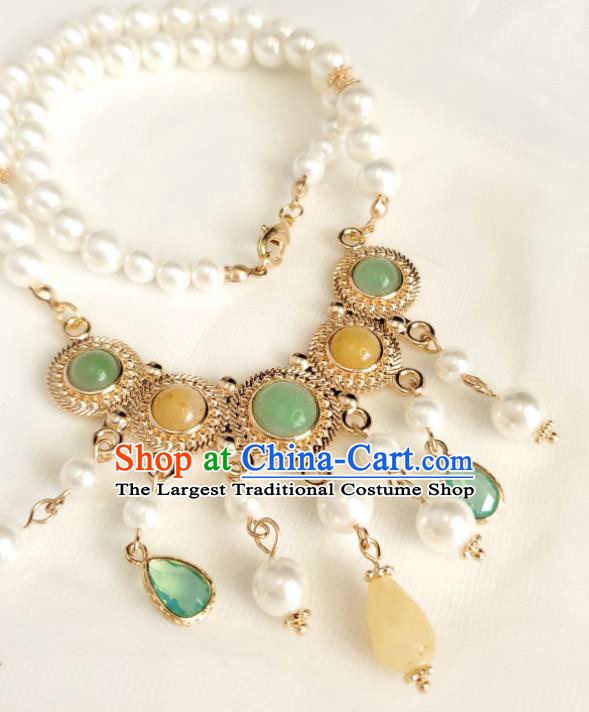 Chinese Handmade Topaz Necklet Classical Jewelry Accessories Ancient Princess Hanfu Gems Pearls Necklace for Women