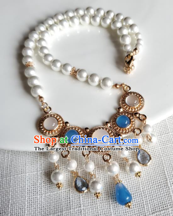 Chinese Handmade Chalcedony Necklet Classical Jewelry Accessories Ancient Princess Hanfu Gems Pearls Tassel Necklace for Women