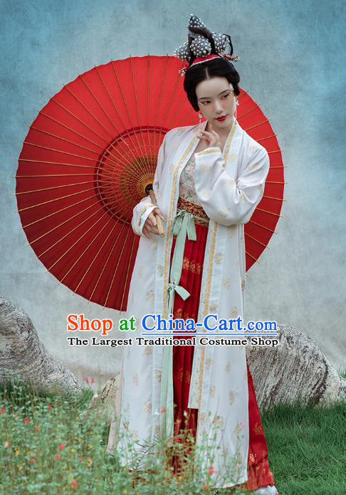 Chinese Ancient Geisha Hanfu Dress Traditional Song Dynasty Palace Lady Historical Costumes White BeiZi Top Blouse and Skirt Full Set