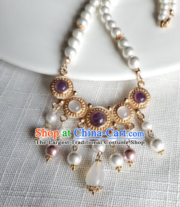 Chinese Handmade Pearls Necklet Classical Jewelry Accessories Ancient Princess Hanfu Amethyst Necklace for Women