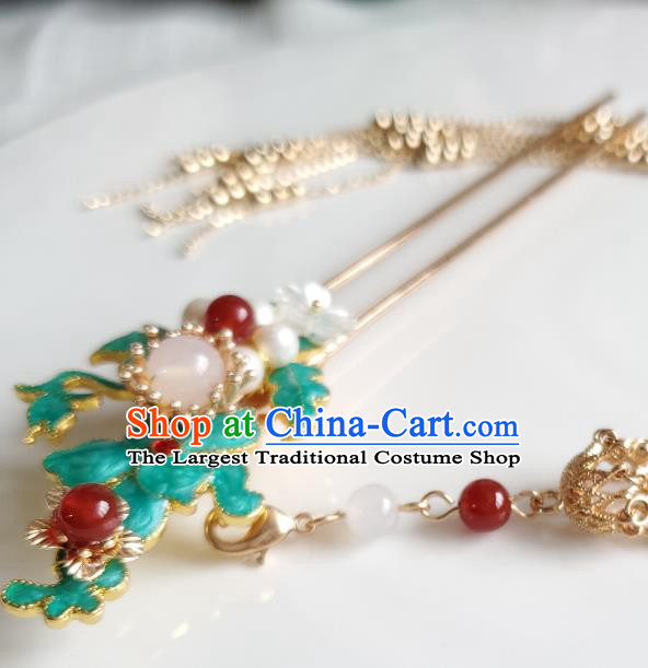 Chinese Ancient Princess Pearls Blueing Hair Stick Hair Accessories Handmade Ming Dynasty Hanfu Golden Tassel Hairpins