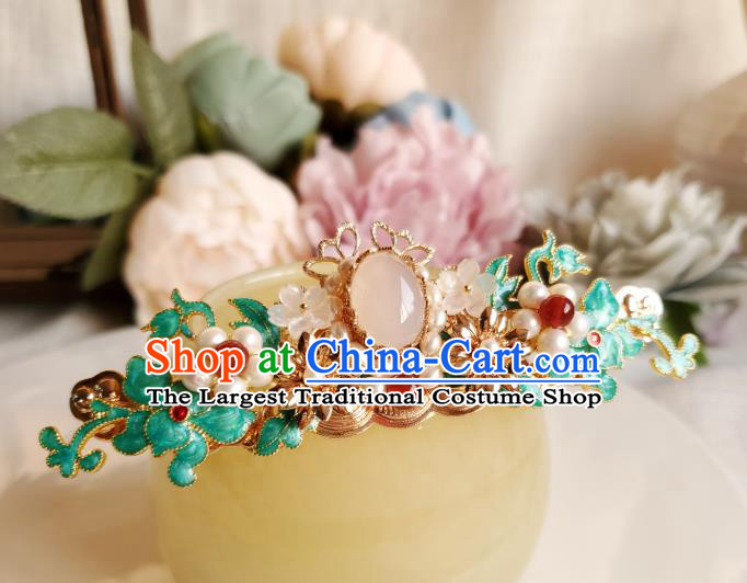 Chinese Ancient Princess Agate Pearls Hair Crown Hair Accessories Handmade Ming Dynasty Hanfu Blueing Jasminum Hairpins