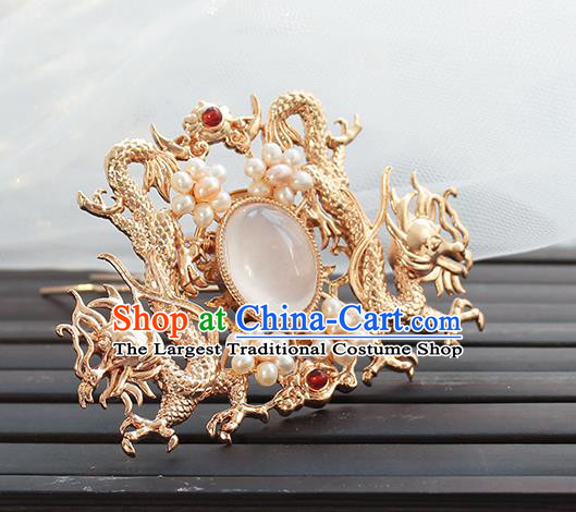 Chinese Classical Golden Dragons Hair Crown Handmade Hanfu Hair Accessories Ancient Ming Dynasty Empress Pearls Hairpins