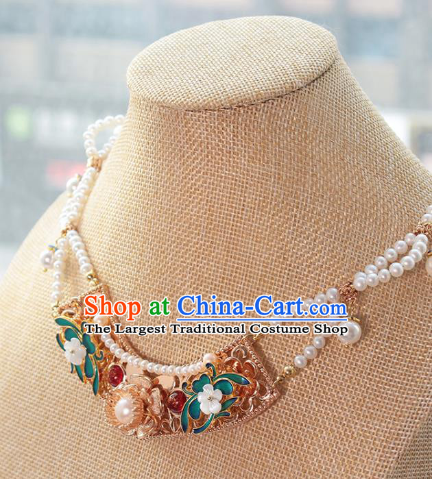 Chinese Handmade Pearls Necklet Classical Jewelry Accessories Ancient Ming Dynasty Princess Hanfu Blueing Necklace for Women