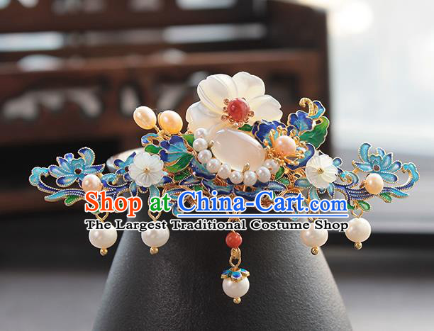 Chinese Classical Blueing Flowers Hair Crown Handmade Hanfu Hair Accessories Ancient Ming Dynasty Empress Pearls Hairpins