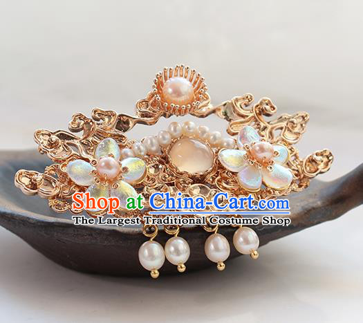 Chinese Classical Golden Hair Crown Handmade Hanfu Hair Accessories Ancient Ming Dynasty Empress Pearls Cloud Hairpins