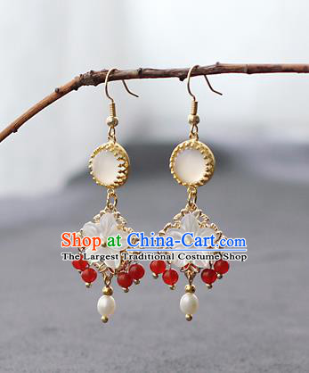 Chinese Handmade Red Beads Earrings Classical Jewelry Accessories Hanfu Ming Dynasty Princess Shell Plum Eardrop