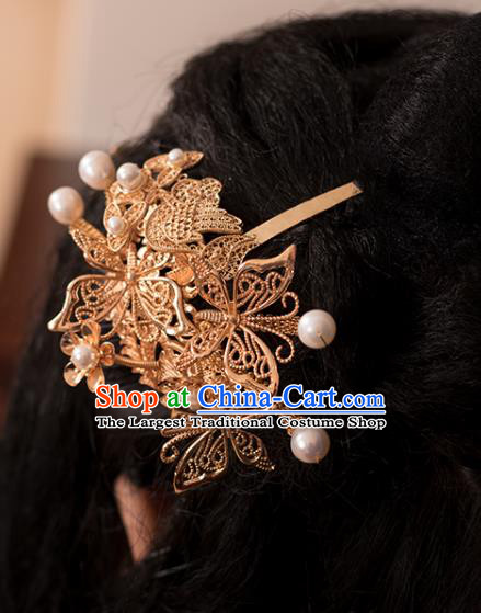Chinese Classical Pearls Hair Stick Handmade Hanfu Hair Accessories Ancient Ming Dynasty Queen Golden Phoenix Hairpins