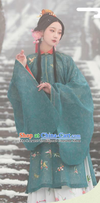 Chinese Ancient Noble Lady Hanfu Apparels Traditional Ming Dynasty Princess Historical Costumes Embroidered Green Gown and Skirt Full Set