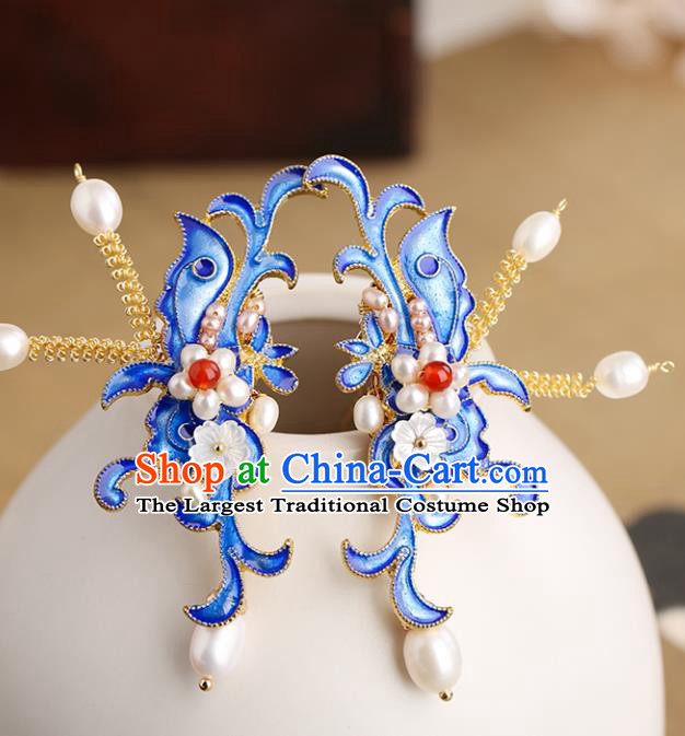 Chinese Classical Palace Blueing Pearls Hair Stick Handmade Hanfu Hair Accessories Ancient Ming Dynasty Princess Hairpins