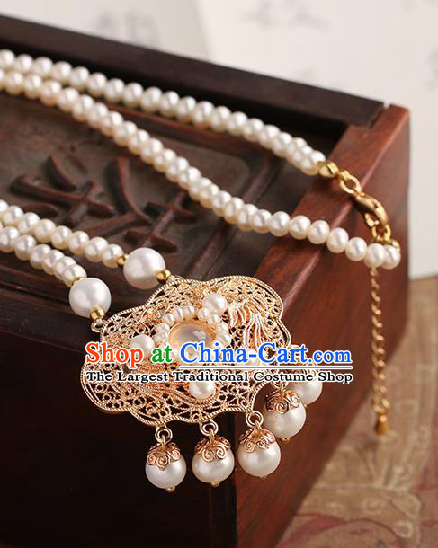 Chinese Handmade Golden Necklet Classical Jewelry Accessories Ancient Ming Dynasty Princess Hanfu Pearls Necklace for Women