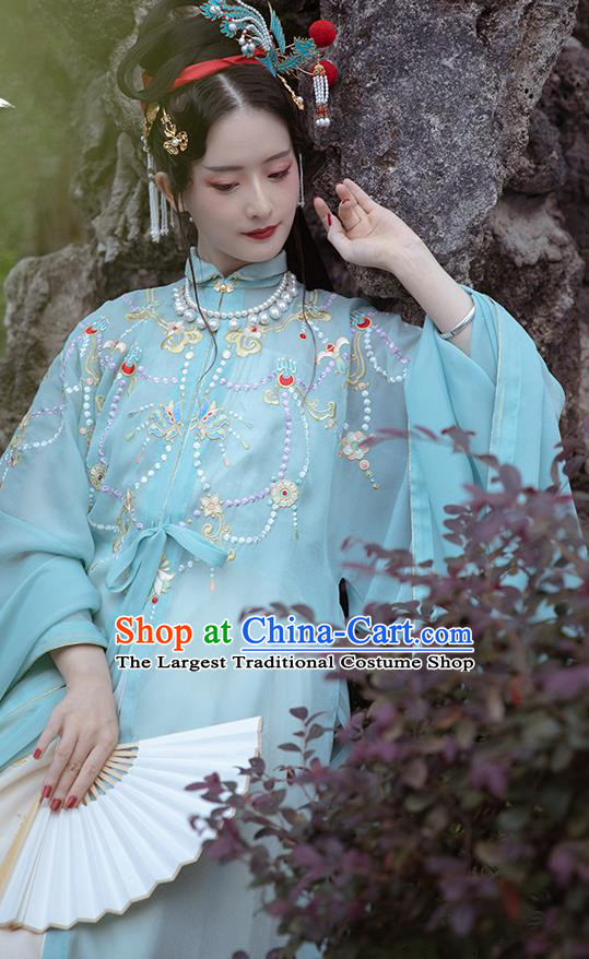 Chinese Ancient Imperial Concubine Historical Costumes Traditional Ming Dynasty Court Women Hanfu Apparels Embroidered Blue Gown and Skirt Full Set