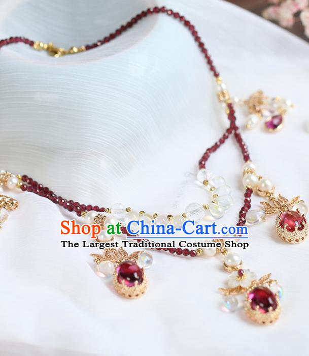 Chinese Handmade Garnet Necklet Classical Jewelry Accessories Ancient Ming Dynasty Princess Hanfu Necklace for Women