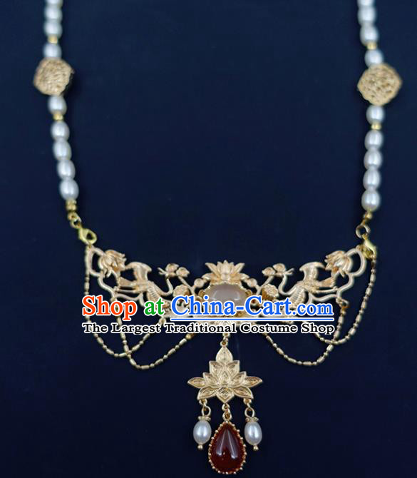 Chinese Handmade Hanfu Agate Necklet Classical Jewelry Accessories Ancient Ming Dynasty Princess Pearls Necklace for Women