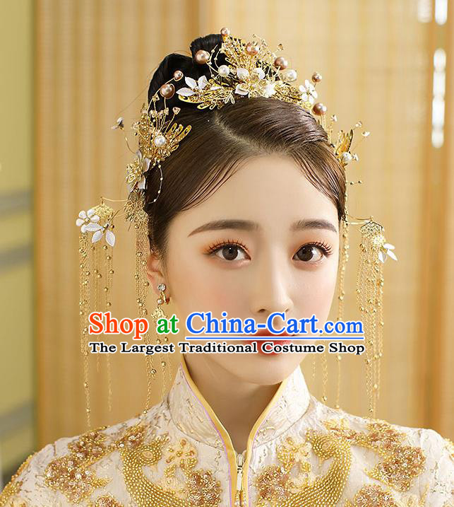 Chinese Classical Wedding Pearls Hair Crown Handmade Hair Accessories Ancient Bride Golden Tassel Hairpins Complete Set
