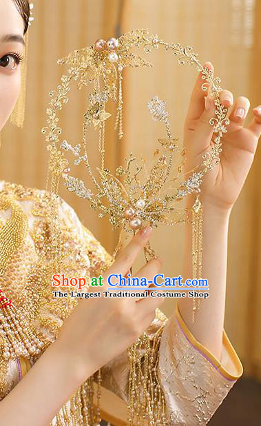 Chinese Handmade Wedding Golden Tassel Palace Fans Classical Fans Ancient Bride Crystal Round Fans