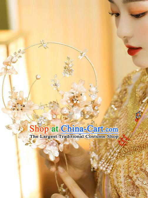 Chinese Handmade Wedding Flowers Palace Fans Classical Fans Ancient Bride Crystal Tassel Round Fans