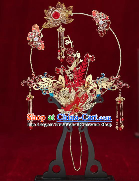 Chinese Handmade Wedding Golden Lotus Palace Fans Classical Fans Ancient Bride Red Butterfly Round Fans