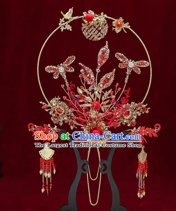 Chinese Handmade Wedding Red Dragonfly Palace Fans Classical Fans Ancient Bride Crystal Round Fans